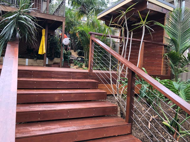 wooden garden steps landscaping northern rivers