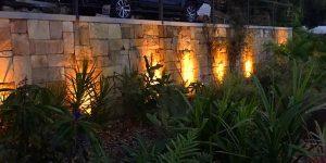 tweed coast landscaping stone work at night